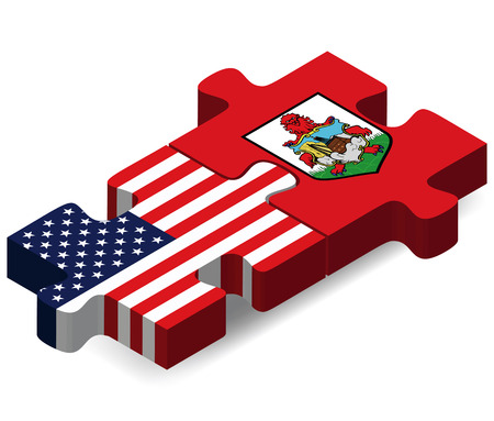 USA and Bermuda Flags in puzzle  isolated on white background