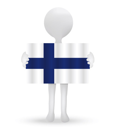 small 3d man holding a flag of Republic of Finland