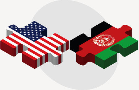 afghan:  USA and Afghanistan Flags in puzzle  isolated on white background