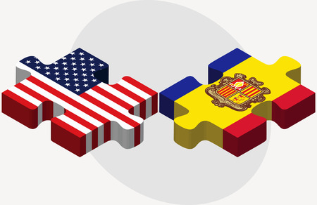 andorra: Vector Image - USA and Andorra Flags in puzzle  isolated on white background