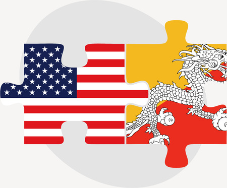 bhutan: USA and Bhutan Flags in puzzle  isolated on white background