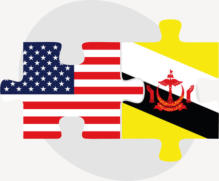 brunei darussalam: USA and Brunei Darussalam Flags in puzzle  isolated on white background