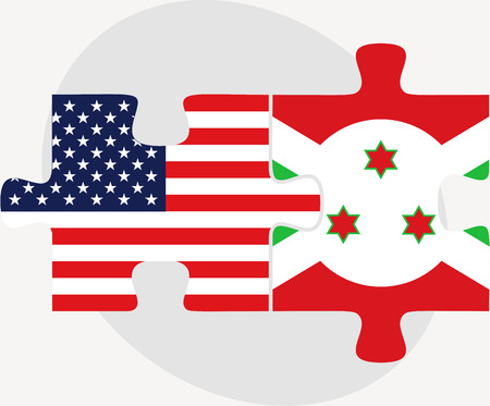 bujumbura:  USA and Burundi Flags in puzzle  isolated on white background