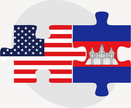 cambodian flag: USA and Cambodia Flags in puzzle  isolated on white background