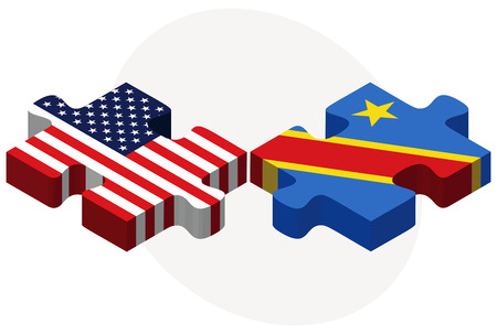zaire: Vector Image - USA and Democratic Republic of the Congo Flags in puzzle  isolated on white background Illustration