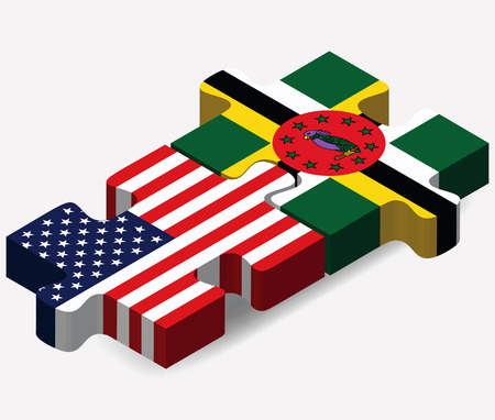 commonwealth: USA and Commonwealth of Dominica Flags in puzzle  isolated on white background