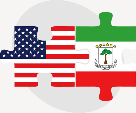 guinea equatoriale:  USA and Equatorial Guinea Flags in puzzle  isolated on white background Vettoriali