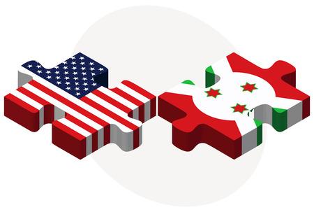 bujumbura: USA and Burundi Flags in puzzle  isolated on white background Illustration