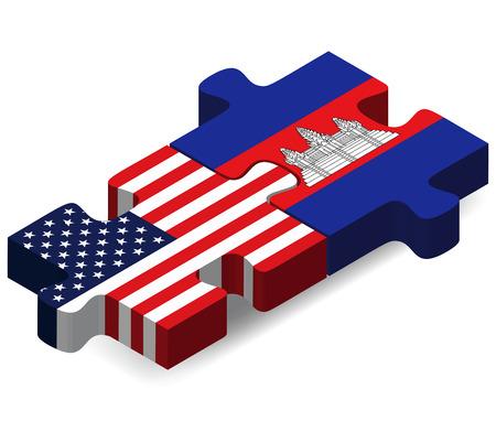 アメリカ、カンボジアのフラグのパズルに孤立した白い背景