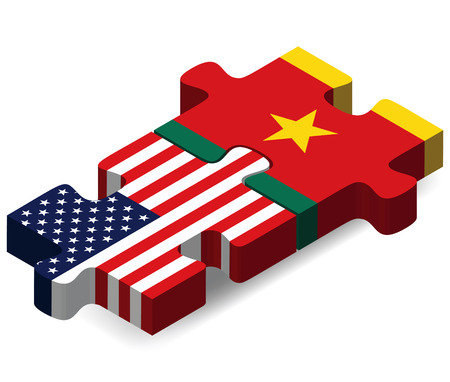 cameroonian: USA and Cameroon Flags in puzzle  isolated on white background