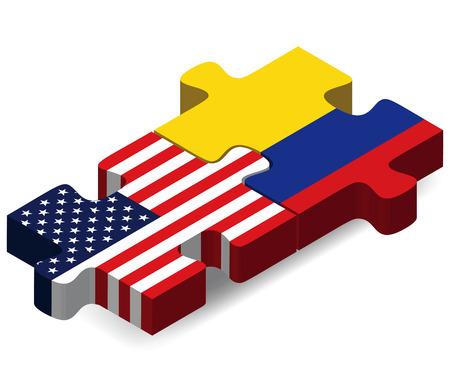 アメリカとコロンビアのフラグ パズルに孤立した白い背景  イラスト・ベクター素材