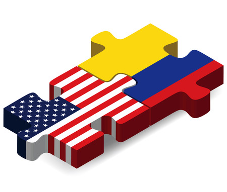 USA and Colombia Flags in puzzle  isolated on white background Stock Illustratie