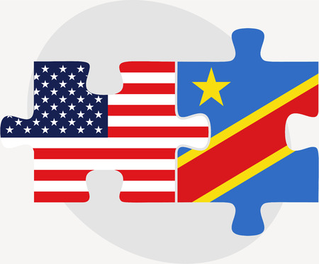 zaire: USA and Democratic Republic of the Congo Flags in puzzle  isolated on white background Illustration