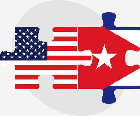 cuban flag: USA and Cuba Flags in puzzle  isolated on white background