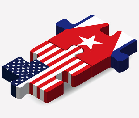 Vector Image - USA and Cuba Flags in puzzle  isolated on white background