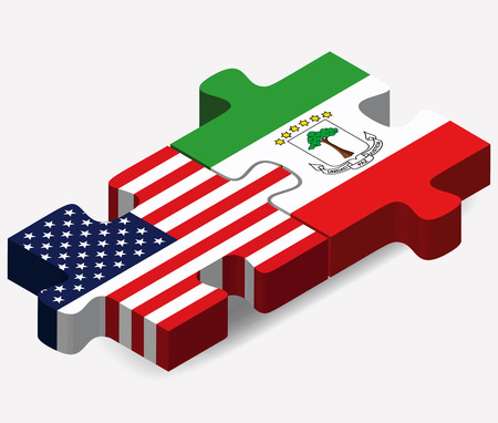 guinea equatoriale: USA e Guinea Equatoriale Bandiere puzzle isolato su sfondo bianco Vettoriali