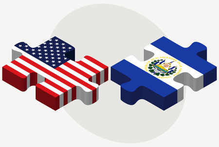 el salvadoran:  USA and El Salvador Flags in puzzle  isolated on white background Illustration