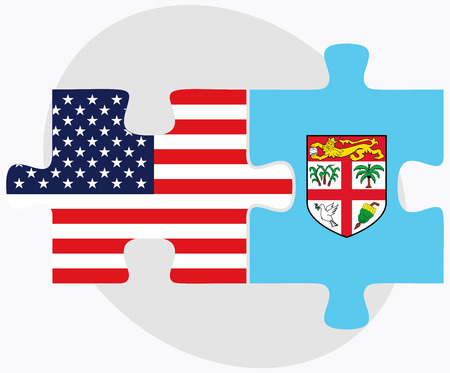 fijian: USA and Fiji Flags in puzzle  isolated on white background Illustration