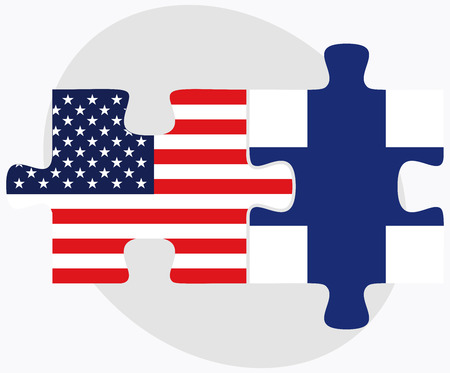 USA and Finland Flags in puzzle  isolated on white background