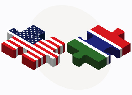 gambia:  USA and Gambia Flags in puzzle  isolated on white background