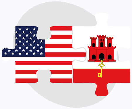 gibraltar: USA and Gibraltar Flags in puzzle  isolated on white background