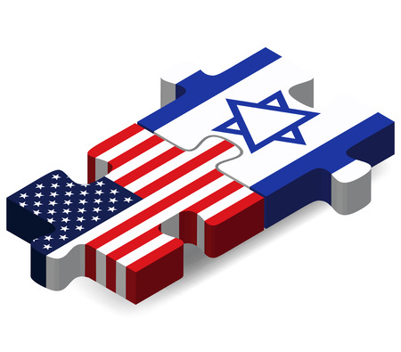 Vector Image - USA and Israel Flags in puzzle  isolated on white background Vector