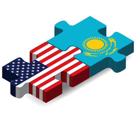Vector Image - USA and Kazakhstan Flags in puzzle  isolated on white background