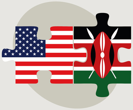 nairobi: Vector Image - USA and Kenya Flags in puzzle  isolated on white background