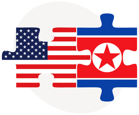 asian business team: Vector Image - USA and North Korea Flags in puzzle  isolated on white background