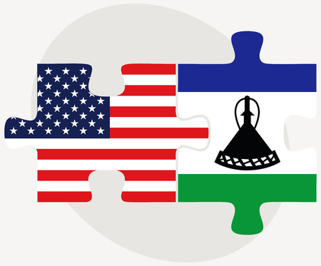 lesotho: Vector Image - USA and Lesotho Flags in puzzle  isolated on white background Illustration