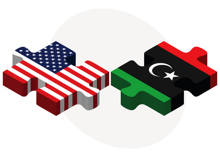 Vector Image - USA and Libya Flags in puzzle  isolated on white background Vector