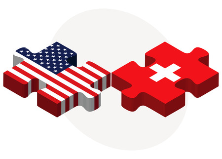 confederation: Vector Image - USA and Switzerland Flags in puzzle  isolated on white background
