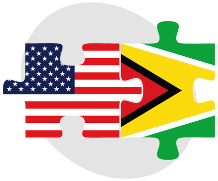 georgetown: Vector Image - USA and Guyana Flags in puzzle  isolated on white background Illustration