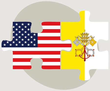 vatican city: Vector Image - USA and Vatican City Flags in puzzle  isolated on white background Illustration