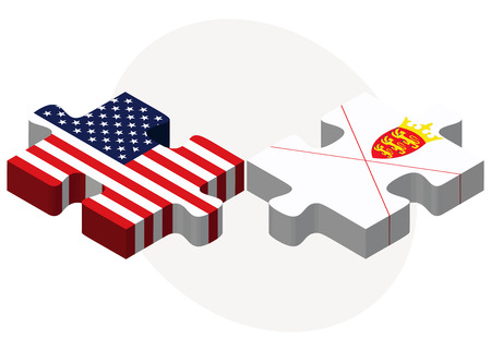 bailiwick: Vector Image - USA and Bailiwick of Jersey Flags in puzzle  isolated on white background