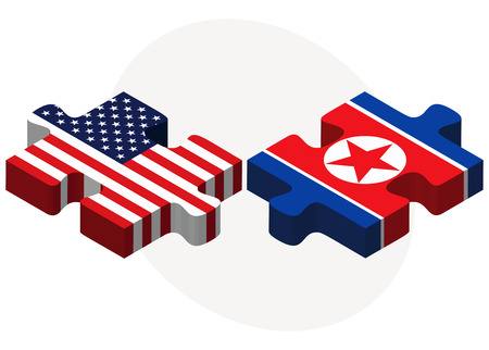 pyongyang: Vector Image - USA and North Korea Flags in puzzle  isolated on white background