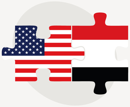 Vector Image - USA and Yemen Flags in puzzle  isolated on white background Vector