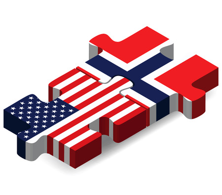 Vector Image - USA and Norway Flags in puzzle  isolated on white background