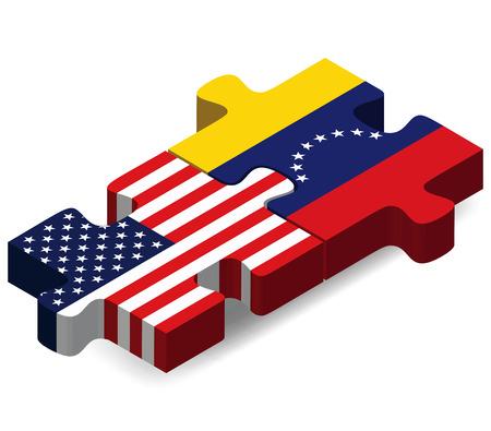 venezuelan: Imagen Vector - Estados Unidos y Venezuela Banderas en rompecabezas aislados sobre fondo blanco