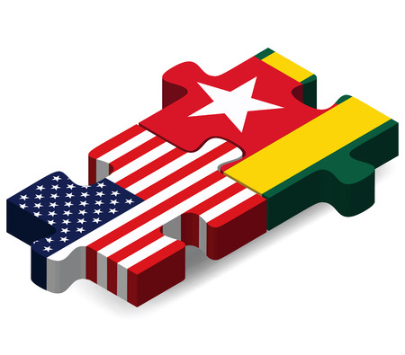 bonding: USA and Togo Flags in puzzle  isolated on white background