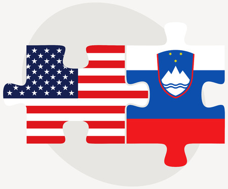 Vector Image - USA and Slovenia Flags in puzzle isolated on white background
