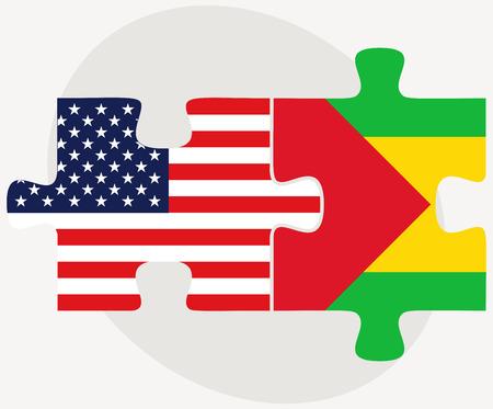 principe: Imagen Vector - los EEUU y Santo Tomé y Príncipe Banderas en rompecabezas aislados sobre fondo blanco Vectores