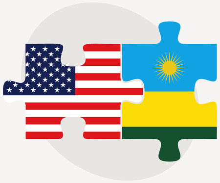 kigali: Vector Image - USA and Rwanda Flags in puzzle isolated on white background