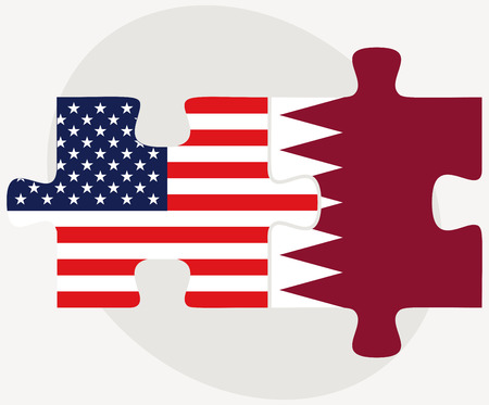 doha: Vector Image - USA and Qatar Flags in puzzle isolated on white background