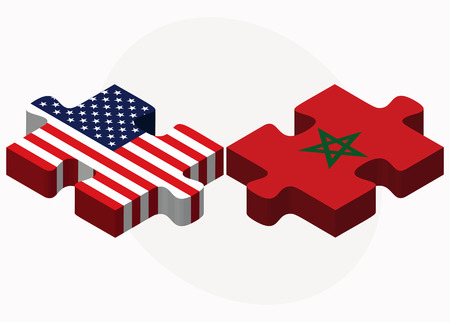 berber: Vector Image - USA and Morocco Flags in puzzle isolated on white background Illustration