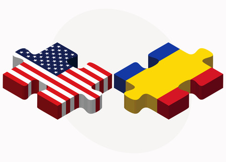 moldovan: Vector Image - USA and Moldova Flags in puzzle isolated on white background