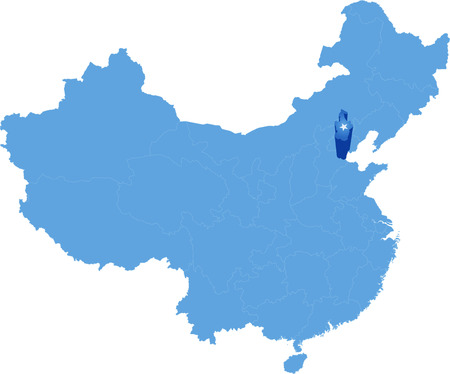 people's republic of china: Map of Peoples Republic of China where Tianjin Municipality province is pulled out Illustration
