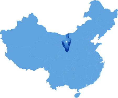 people's republic of china: Map of Peoples Republic of China where Ningxia Hui Autonomous Region province is pulled out