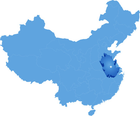 people's republic of china: Map of Peoples Republic of China where Anhui province is pulled out Illustration