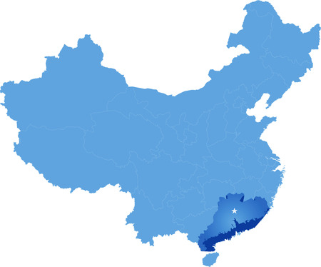Map of Peoples Republic of China where Guangdong province is pulled out